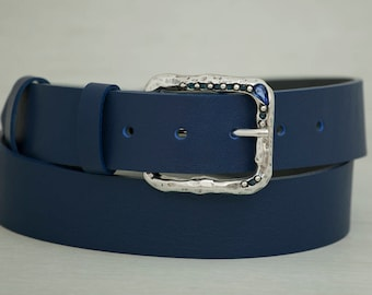 Leather Belt, Blue Leather Belt, Womens Belt, Fashion Belt