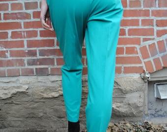 Vintage Pants, Teal Pants, Turquoise, Rafael, 90's Clothing, Vintage Clothing, High Waist, Elastic Waist, High Waisted, Medium, Small