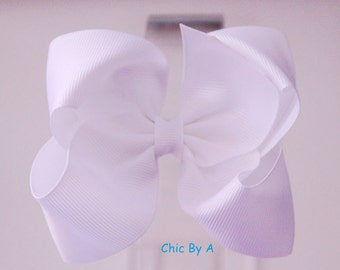 """White 4"""" Boutique Bow,Lovely Stacked,Baby,Girl,Ponytail Bow,Hair Clips,Elegant Hair Bow,Baby, Kids,Toddler,Grosgrain Ribbon,Hair Bow"""