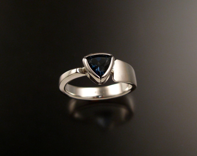 London Blue Topaz Triangle asymmetrical Sterling Silver ring made to order in your size