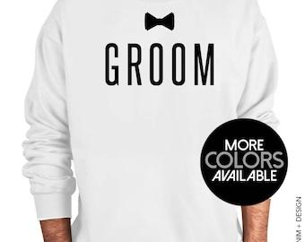 Groom - Bow Tie - Men's Crew Neck Sweatshirt, Groom's Party, Wedding Sweater, Best Friend, Brother of the Groom, Bachelor Party Shirt