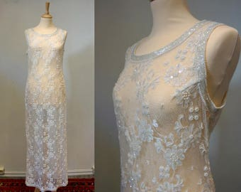 White Handbeaded 1960s Gown