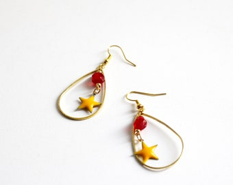 Red and yellow stars drop earrings