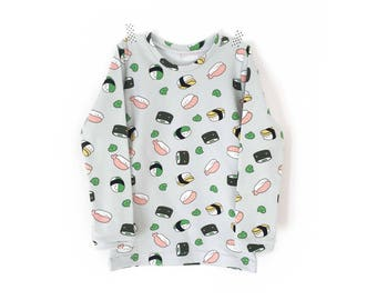 SUSHI - long sleeves  baby t-shirt  - baby and toddler - super cute gender neutral t-shirt - kawaii T-shirt