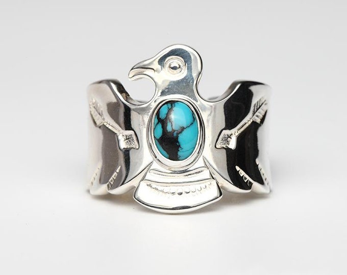 Thunderbird Ring | Native American Inspired | Silver Wrap Ring | Silver Gemstone Ring | Arrow Ring | Adjustable Ring | Oxidized Silver Ring
