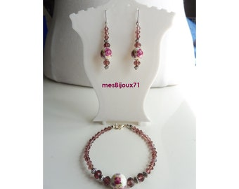 Bracelet and matching plum earrings. Plum jewelry. Porcelain beads bracelet and glass beads
