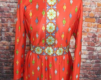 Vtg 70's Maxi Dress Orange Floral Print High Collar Long Sleeves Sz M The Clothes Horse