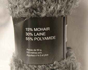 10 balls of wool, mohair and /laine / gray / made in FRANCE