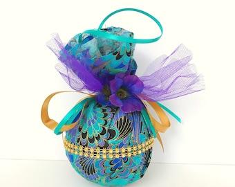 Teal and purple fabric ornament. Fabric ornament. Purple Christmas ornament.