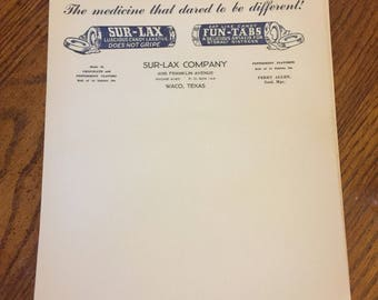 Old Waco Sur-Lax Company Letterhead Texas unused