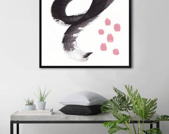 Downloadable print, abstract art print, black and white, pink wall art, Gift for her, abstract painting print, printable abstract