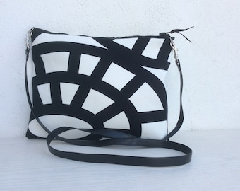 Simple crossbody purse, simple clutch,  upholstery fabric, zipped purse, summer bag, handmade, gift for her, ipad case, monochrome