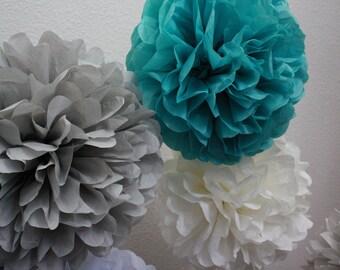 Tissue Pom Poms - Set of 10 Paper Poms - Your Color Choice- SALE