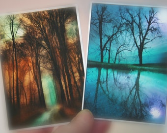 Moon, Night sky and autumn moon set of two, aceo originals, moon photograph, nature photography, trees, roads #aceo original