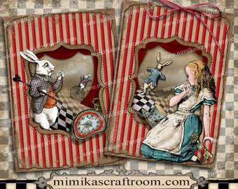 Alice in Wonderland Digital Collage Sheet, ACEO cards, digital paper, Alice party, printable paper, Instant Download, scrapbook images