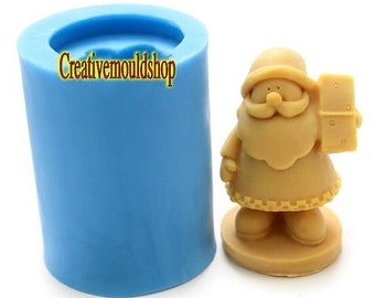 Christmas Bearded Santa Claus Soap Mold Flexible Silicone Mould Candle Candy Cake Fimo Resin Crafts