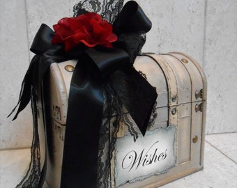 Wedding Wishes Trunk / Wishes Case / Wedding Decor / Red and Black Wish Box / Wishes For The Bride and Groom / Bridal Shower Wish Trunk