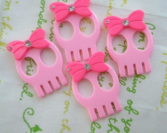 SALE Skull with bow and rhinestone 4pcs  PINK (Type B)