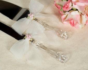 Porcelain Rose Bouquet Wedding Cake Server Set - Custom Engraving Available - 55725R
