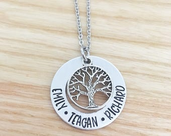 Mothers Day Gift for Mom - Mothers Day Gift for Mom - Family Tree Necklace - Hand Stamped Necklace - Kids Name Necklace - Custom Necklace