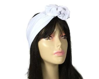 White Flower Headband White Lycra Headband White Lycra Head Wrap with Flower Swim Head Wrap Swim Floral Headband Color Choices CUSTOM SIZE