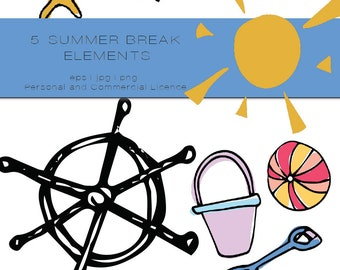 Beach Themed Hand Drawn Clip Art Bundle - whimiscal clipart, bright and colourful clip art, commercial and personal licence art, vectors
