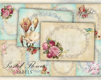 Pastel Flower - Labels - set of 10 - digital collage sheet