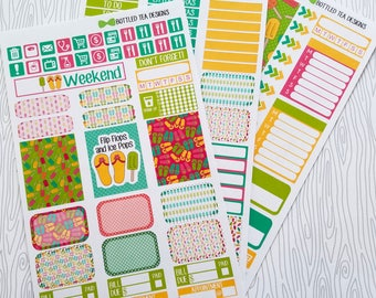 Flip Flops and Ice Pops Weekly Kit (Set of 45) Item #517 // Bottom Washi comes in Erin Condren/Plum Paper Size but can be cut to size