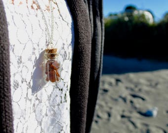 Brown sea glass bottle necklace