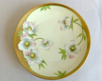 Vintage Hand Painted Porcelain  Display Plate - Pink Yellow Dogwood Blossoms, Bavaria, Gilt Gold, Fine China, Collectible, signed Meunier