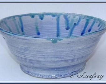 Small bowl made in the round, blue cobalt and crystallized drips