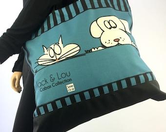 Tote Bag / Grocery bag / Shopper bag / Beach bag / Cream Black and Blue