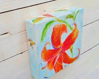 Tiger Lily painting, original acrylic 6x6, orange floral mini painting, flower with bumble bee, gardener gift, orange tiger lily, orange art