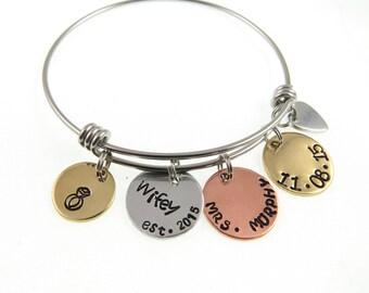 Hand Stamped Jewelry - Wedding Day Gift - Hand Stamped Bracelet Bangle - Bride I do Bracelet - Expressions Bracelets - Anniversary Gift