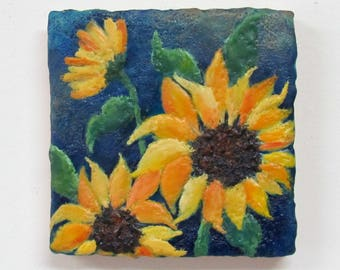 Sunflower Painting - Original Encaustic Painting - Encaustic Art - Vibrant colors - Textured Beeswax Painting - KLynnsArt