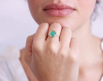 Chrysoprase Ring, Gold Gemstone Ring, Green Gemstone Ring, Green Stacking Ring, Solitaire Gold Ring, Birthstone Ring, 14K Gold Ring, GR0229