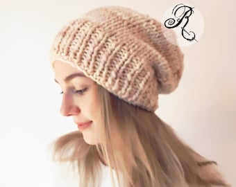 Chunky Slouchy Beanie, Apricot knitted Hat, Hand Knitted Beanie, Boho Beanie