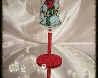 Beauty and the beast rose glitter glass