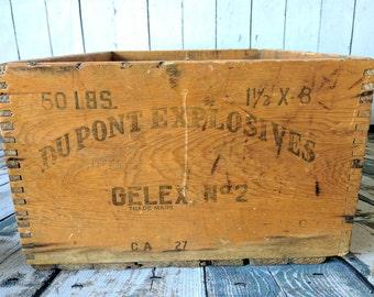 Vintage Dupont Box, Dupont Explosives Box, Old Wood Box, Dovetail Box, Vintage Box, Wood Box, Urban Decor, Industrial, Farmhouse