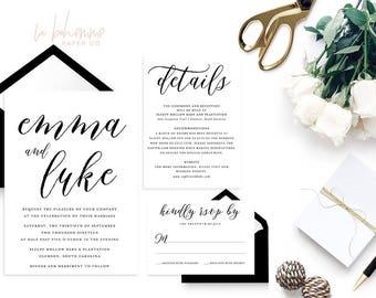 Printable Wedding Invitation Suite / Wedding Invite Set - Printable Wedding Invitation - The Emma Script Suite