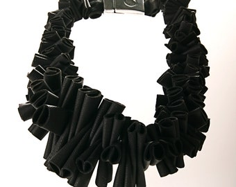 necklace from  grey leather jewelry