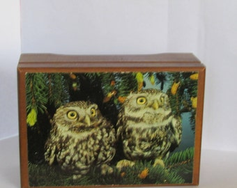 Vintage Swiss Musical Movement Owl Box by Reuge