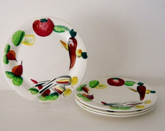 Set of Four Nasco Del Coronado Salad Plates - Vegetable Motif