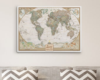 Personalized travel pin maps to track lifes by pushpintravelmaps gallery wrapped personalized executive world map on canvas 24 x 36 push pin gumiabroncs Choice Image