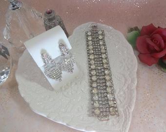 Rhinestone Bracelet Earring Set