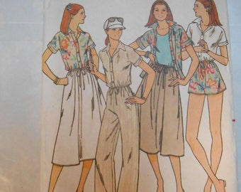 Vintage PATTERN Butterick 6033 Misses' Blouse, Skirt, Shorts, & Pants Size 14