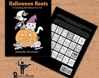 INSTANT DOWNLOAD Coloring Book -  Halloween Roots - Coloring Print, doodle art, printable, Kawaii style