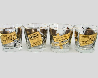 4 Kentucky Bourbon Old Taylor Black and Gold Rocks Glasses, Retro Barware