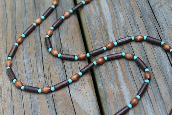 Long Brown and Turquoise Boho Wood Necklace