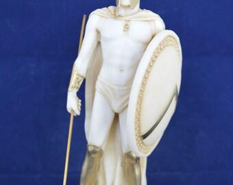Leonidas statue king spartan Hero  ancient Greek alabaster aged sculpture